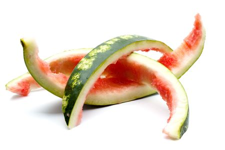 leftovers: Leftovers of big red watermelon isolated on white background