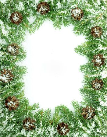 Christmas framework with snow isolated on white background Stock Photo - 5808702