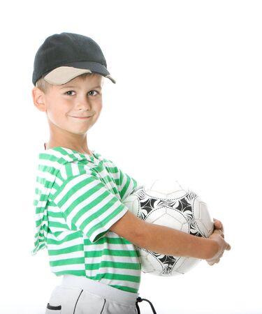 Boy holding soccer ball  isolated on white background Stock Photo - 5808592