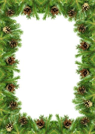 Christmas framework with snow isolated on white background Stock Photo