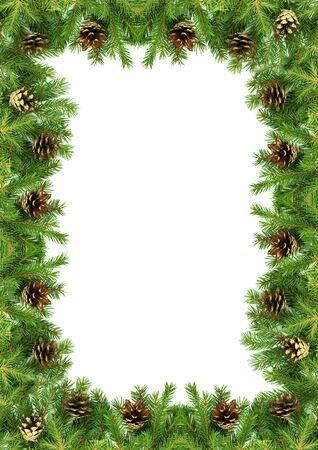 evergreen branch: Marco de la Navidad con nieve aislados sobre fondo blanco
