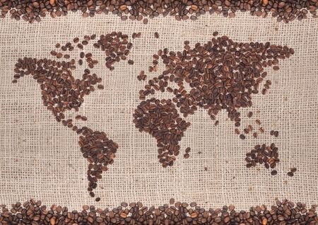 arabica: Coffee map made of beans on white background