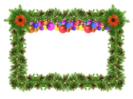 Christmas green  framework isolated on white background Stock Photo - 5965433