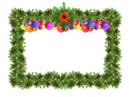 Christmas green  framework isolated on white background Stock Photo - 6000432