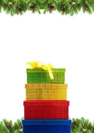 Christmas green  framework isolated on white background photo