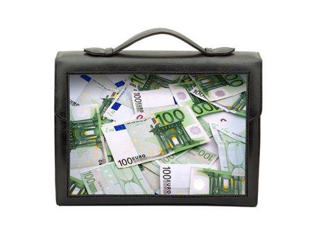 black briefcase: Cerrado el malet�n negro aislado sobre fondo blanco  Foto de archivo