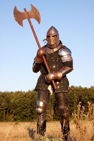 axes: Medieval knight in the field with an axe Stock Photo