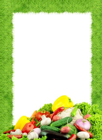 green and purple vegetables: Assorted fresh vegetables isolated on white background