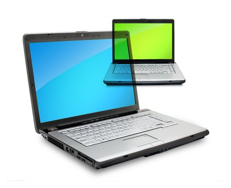 Open laptops showing keyboard and screen  isolated on white background photo