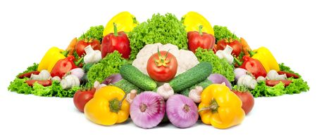 Assorted fresh vegetables isolated on white background Stock Photo - 6195351