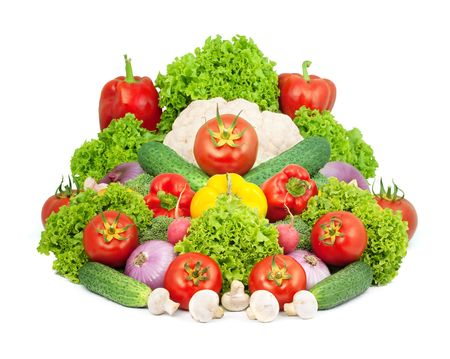 Assorted fresh vegetables isolated on white background photo