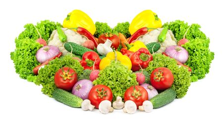 Assorted fresh vegetables isolated on white background Stock Photo - 6195353