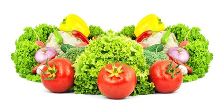 Assorted fresh vegetables isolated on white background Stock Photo - 6195403