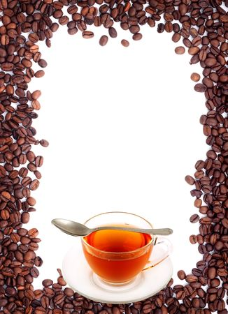 Brown roasted coffee beans isolated on white background photo