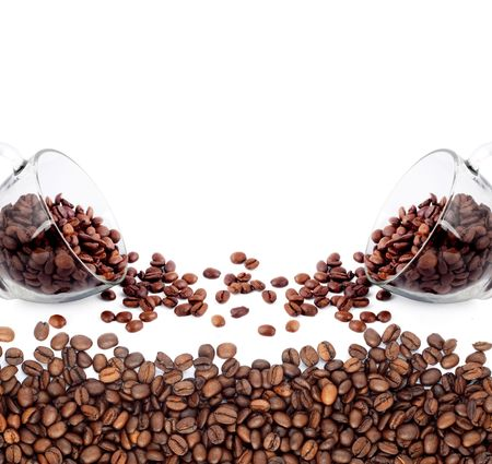 Coffee cup made of beans on white background photo