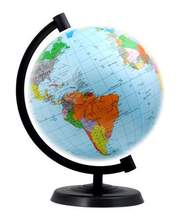 terrestre: Globo terrestre isolato su uno sfondo bianco Archivio Fotografico