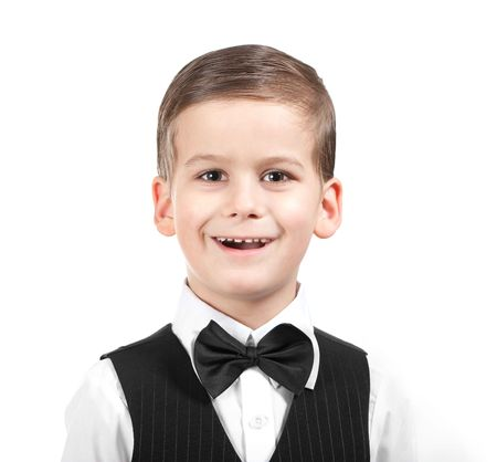 Boy in a suit singing. Shot in studio photo