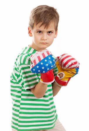 pugilist: Pugilist. Small boy shot in a studio Stock Photo