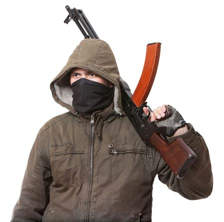 Terrorist with weapon on a white background Stock Photo - 6597876