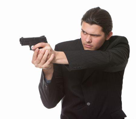 guardaespaldas: Guardaespaldas del empresario aislado en un fondo blanco