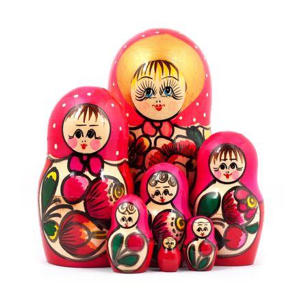 paradigma: Mu�ecas rusas. Aislado en un fondo blanco Foto de archivo