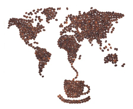 Coffee map made of beans on white background photo