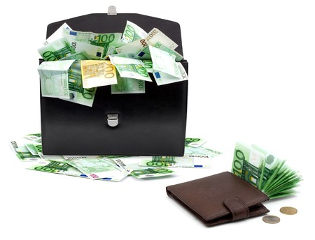 black briefcase: Black briefcase with money on a white background
