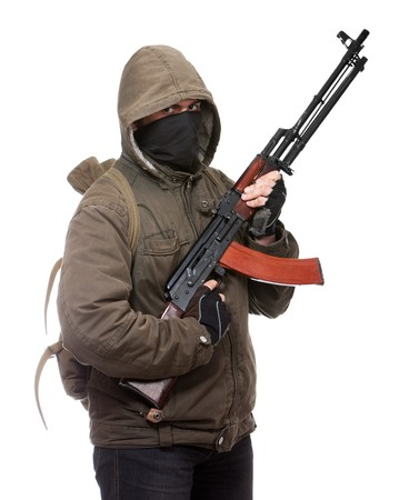 Terrorist with weapon on a white background Stock Photo - 7130031