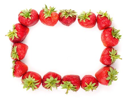 The fresh strawberries frame on a clear white background photo