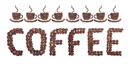 caffeine: Coffee word made of beans on white background Stock Photo