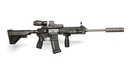 machine-gun: ONS leger M4 rifle geïsoleerd op wit