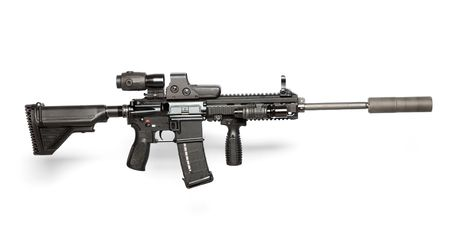 US Army M4 rifle isolated on white Stock Photo