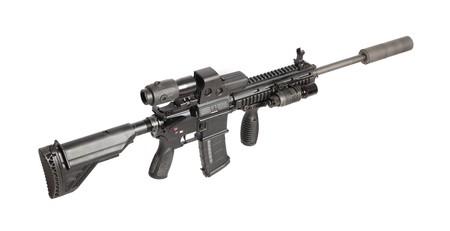 machine-gun: US Army M4 geweer op wit wordt ge