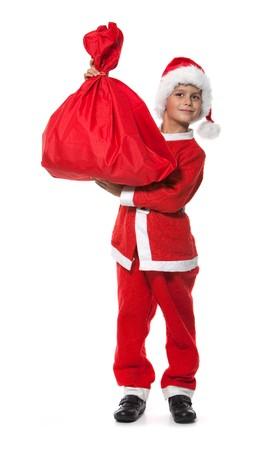 Boy holding a sack isolated on white background Stock Photo - 7853163