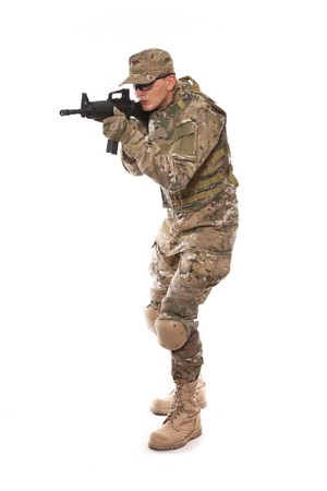 Soldier with rifle on a white background Stock Photo - 7853154