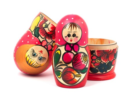 Russian Dolls. Isolated on a white background photo