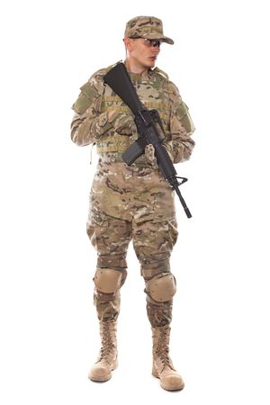 one armed: Soldier with rifle on a white background