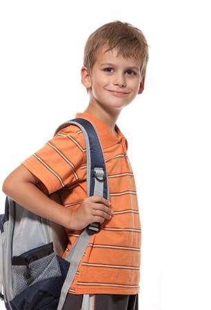 Boy holding books isolated on a white background Stock Photo - 7929302