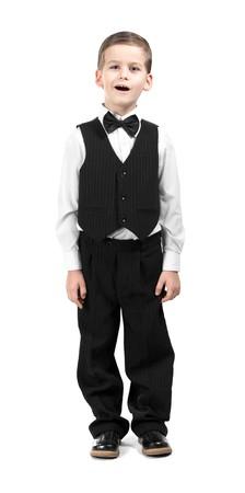 coro: Chico en un canto de traje. Grabado en estudio  Foto de archivo