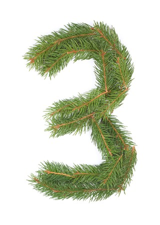 NUMBER 3 - Christmas tree decoration - part of a full set Stock Photo - 8029162