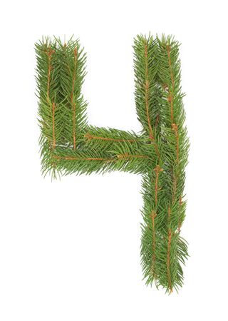 NUMBER 4 - Christmas tree decoration - part of a full set Stock Photo - 8029158