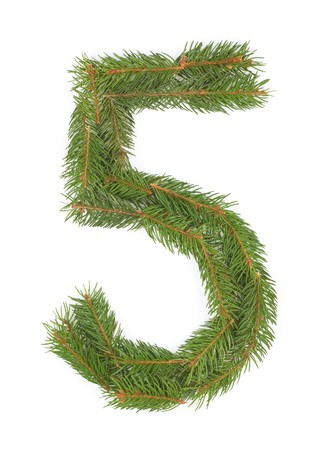 NUMBER 5 - Christmas tree decoration - part of a full set Stock Photo - 8029163