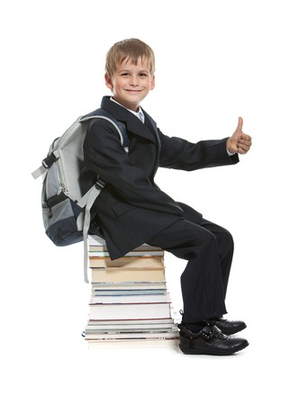 Schoolboy sitting on books isolated on a white background Stock Photo - 8056215