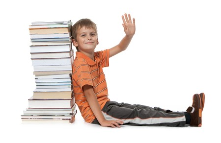 Boy and books isolated on a white background Stock Photo - 8056213
