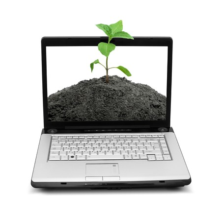 Open laptop showing keyboard and screen  isolated on white background photo