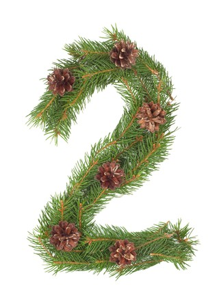 NUMBER 2 - Christmas tree decoration - part of a full set Stock Photo - 8056286
