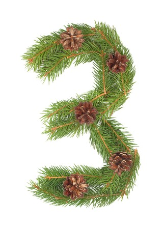 NUMBER 3 - Christmas tree decoration - part of a full set Stock Photo - 8056282