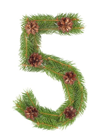NUMBER 5 - Christmas tree decoration - part of a full set Stock Photo - 8056281