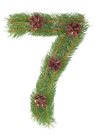 NUMBER 7 - Christmas tree decoration - part of a full set Stock Photo - 8056280