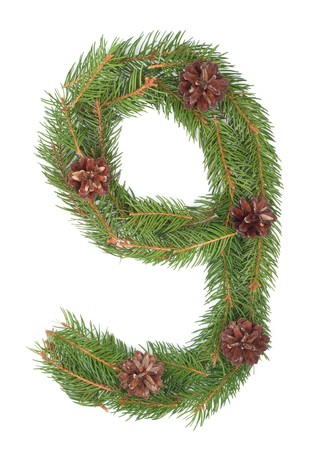 NUMBER 9 - Christmas tree decoration - part of a full set Stock Photo - 8056288